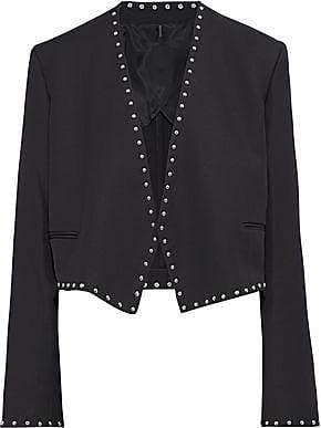 Helmut Lang Helmut Lang Woman Studded Crepe Jacket Black Size 2