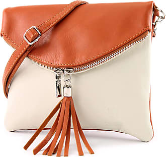 modamoda.de Ital. Leather Clutch Shoulder Bag Underarm Shoulder Bag Girl Small Nappa Leather T139, Colour:T139 Cream/Camel