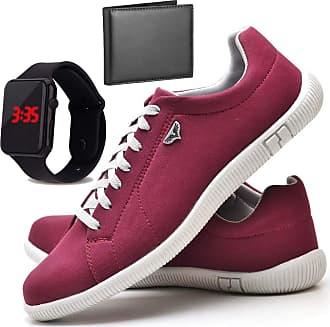 Juilli Kit Sapatênis Sapato Casual Com Relógio LED e Carteira Masculino JUILLI 900DB Tamanho:40;cor:Vermelho;gênero:Masculino