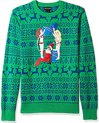 Alex Stevens Mens Drunk Elf Ugly Christmas Sweater, Green, Medium