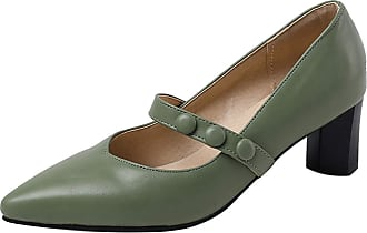 Mediffen Women Block Heels Pointed Toe Concise Slip On Dress Mary Jane Pumps Green Size 45 Asian