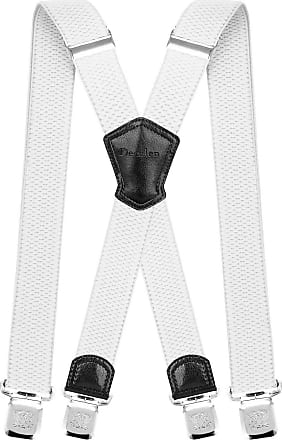 Decalen Mens Braces with Very Strong Metal Clips Wide 4 cm 1.5 inch Heavy Duty Suspenders One Size Fits All Men and Women Adjustable and Elastic X Form (White