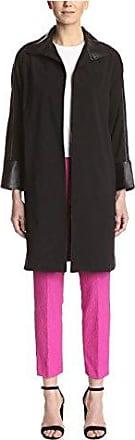 Natori Womens Swing Coat with Leather, Black, L