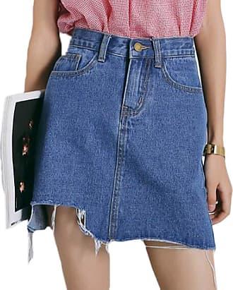 9a99725faa890 Huateng Ripped Skirt for Women Summer Irregular Holes Denim Mini Skirt  Casual Pencil Skirts