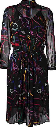 Paul Smith abstract-print shirt dress - Preto