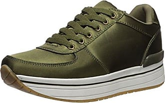 Qupid Womens TWEED-01 Sneaker, Khaki, 5 M US