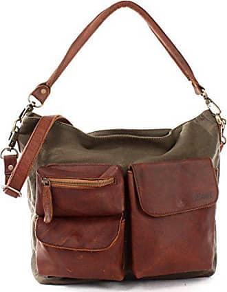bae2553f11e05 Leconi Schultertasche für Damen Vintage-Look Segeltuch Ledertasche Natur  großer Shopper Lederhandtasche für DIN A4