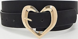 Glamorous Curve black waist & hip belt with gold hammered heart buckle