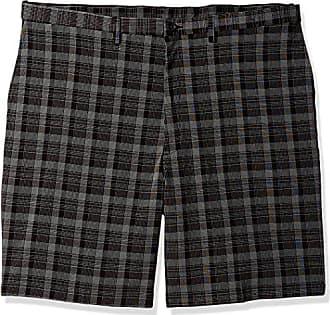 Haggar Mens Big and Tall B&t Cool 18 Pro Classic Fit Pinstripe Plaid Flat Front Short, Black, 44
