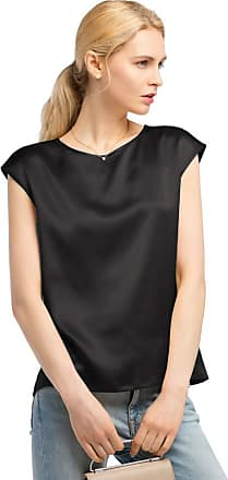 LilySilk Basic Cap Sleeves 22MM Silk T Shirt Relaxed Fit Round Neck Shirt for Ladies (10/S, Black)