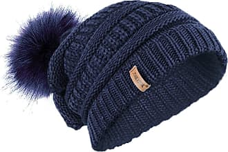 TOSKATOK Ladies Textured Knit Beanie HAT with Detachable Faux Fur POM POM Navy