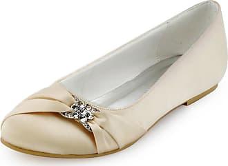 Elegantpark EP2006 Women Wedding Shoes Flat Round Toe Bridal Shoes Rhinestones Satin Wedding Flats Bride Shoes Champagne UK 8