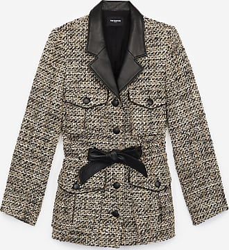 The Kooples Blazer aus Tweed in Grau mit Lederdetails - HERREN