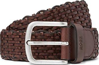 HUGO BOSS 3.5cm Dark-brown Woven Leather Belt - Brown