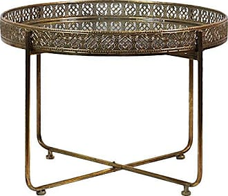 Urban Trends Collection Urban Trends Low Round Accent Table with Mirror Top, Pierced Sides and 4 Straight Legs on Pedestal Base Metallic Finish Antique Gold