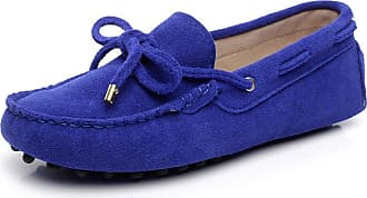 Jamron Womens Classic Suede Bow Tie Loafers Comfort Handmade Slipper Moccasins Royal Blue 24208-2 UK5.5