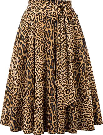 Belle Poque Vintage 1950s Elegant Solid Color High Waist Plain Tea Skirts for Womens Leopard(946-1) X-Large