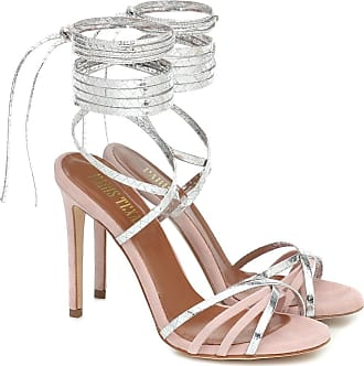 PARIS TEXAS Embossed leather and suede sandals