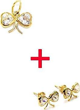 Prado Joias Conjunto Em Ouro 18k Lacinho Laço Com Zircônias