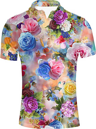 Hugs Idea Floral Patern Mens Golf Sport Shirt Fashin Hawaiian Short Sleeves Summer Button Down T-Shirts