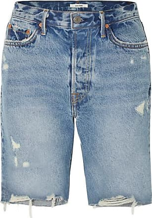 GRLFRND Marjan Distressed Denim Shorts - Mid denim