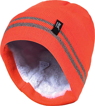 Heat Holders Mens hi vis Reflective Outdoor Winter Thermal Knitted high Visibility Turnover hat in Orange and Yellow (One Size, Hi Vis Orange)
