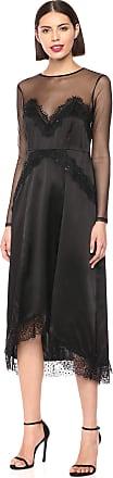 The Kooples Womens Long Laced Silk Slip Dress, Black, 6