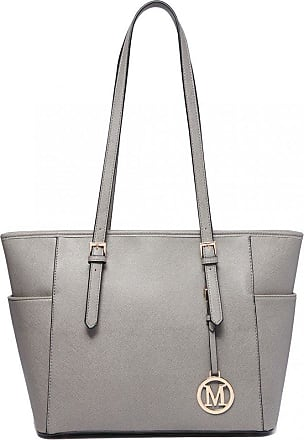 Quirk Faux Leather Adjustable Handle Tote Bag Grey