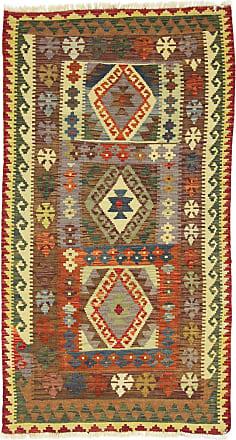 Nain Trading 192x103 Echter Teppich Kelim Afghan Läufer Beige/Braun (Wolle, Afghanistan, Handgewebt)