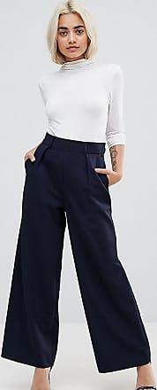 Asos Petite ASOS DESIGN Petite - Pantaloni con fondo ampio e pinces-Navy