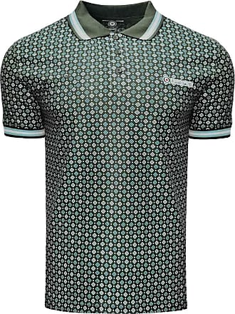 Lambretta Mens Geometric AOP Cotton Polo Shirt - Olive - 2XL