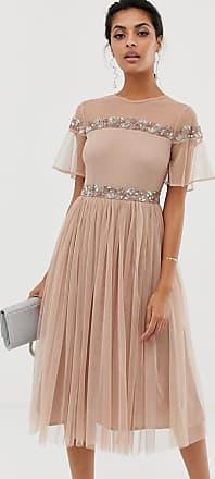 Maya Geplooide midi-jurk met korte mouwen en versierd lijfje-Crème
