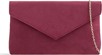 LeahWard Womens Faux Suede Leather Clutch Bag Wedding Party Evening Purse Handbags (Burgundy)