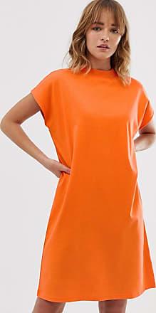 Weekday Hochgeschlossenes T-Shirt-Kleid in Hellorange