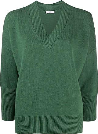 PESERICO Suéter gola V com acabamento canelado - Verde