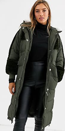 Urban Code longline padded parka with leopard faux fur panels-Green