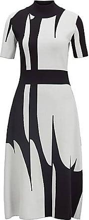 BOSS Strickkleid mit Stehkragen und abstraktem Muster