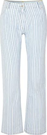Off-white Striped Mid-rise Straight-leg Jeans - Blue
