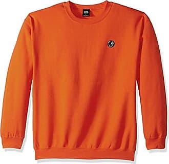 Obey Mens 8 Ball Crew Neck Fleece Sweatshirt, Orange, L