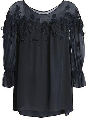 657fd284c68468 Elie Tahari Elie Tahari Woman Floral-appliquéd Silk-georgette Blouse Navy  Size S