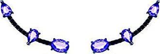 Vivid Brinco Ear Cuff Cravejado Gotinha e Oval Tanzanita no Banho a Ródio Negro