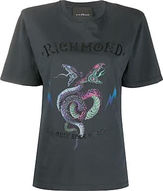 John Richmond Camiseta com estampa de logo e cobra - Preto