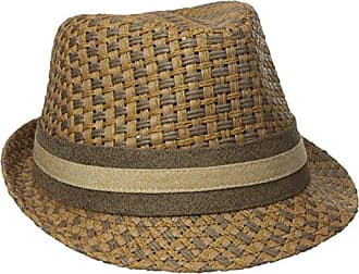 f89f8aa978d66 Henschel Mens Paper Straw Fedora with Two Tone Band, Brown, Large