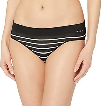 a00682ebb34a DKNY Womens Seamless Litewear Solid Bikini, Black Stripe/Vellum Small
