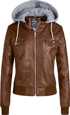 Wantdo Faux Leather Coats for Women Khaki X-Large