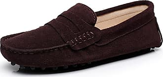 Jamron Womens Classic Suede Penny Loafers Comfort Handmade Slipper Moccasins Coffee 24208 UK7