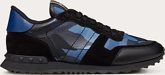 Valentino Garavani Valentino Garavani Uomo Camouflage Rockrunner Sneaker Man Blue Lambskin 50%, Cotton 30%, Polyester 20% 41.5