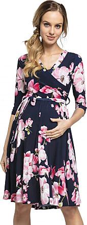 Happy Mama Womens Maternity Nursing Midi Dress Double Layer 3/4 Sleeve 609p (Style 1, UK 16, 2XL)