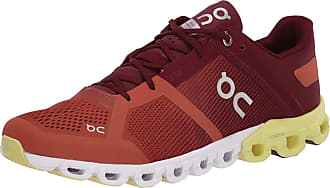 On On Mens Cloudflow Road Running Shoes, Rust/Limelight - 9.5 UK