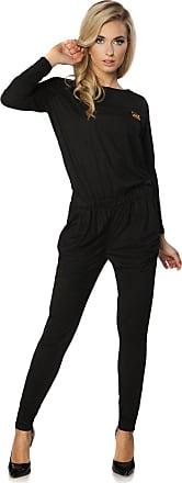 FUTURO FASHION Elegant Suede Long Sleeve Jumpsuit Adjustable Waist Cotton Playsuit Size 8-16 UK FT2836 Black